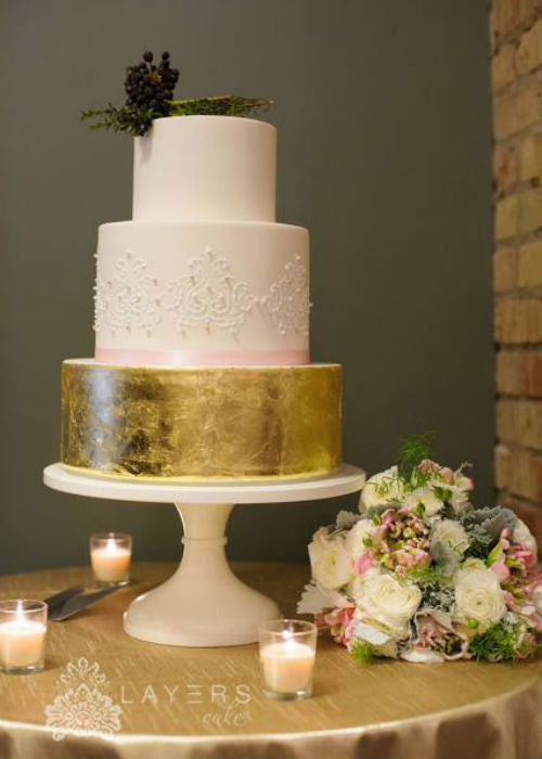 Gold Leaf Cake on a White 16 inch Cake Stand