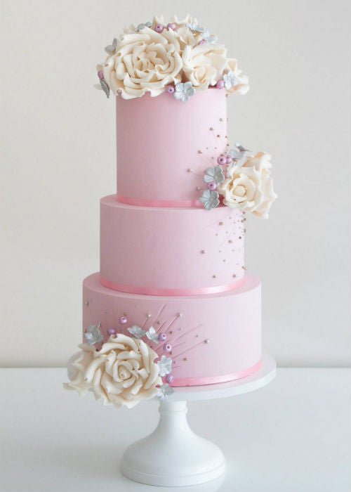 Pink Lady Cake on a White 12 inch Cake Stand