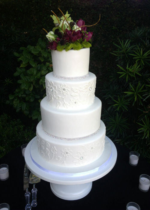 Crystal Adorned Cake on a White 16 inch Cake Stand
