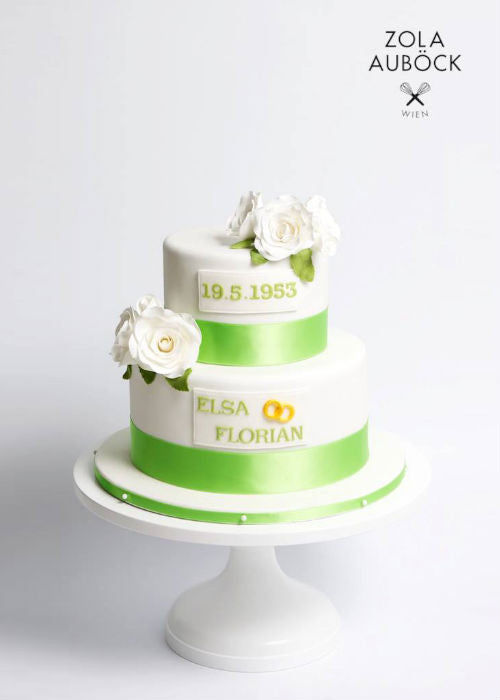 Lime Green Cake on a White 12 inch Cake Stand