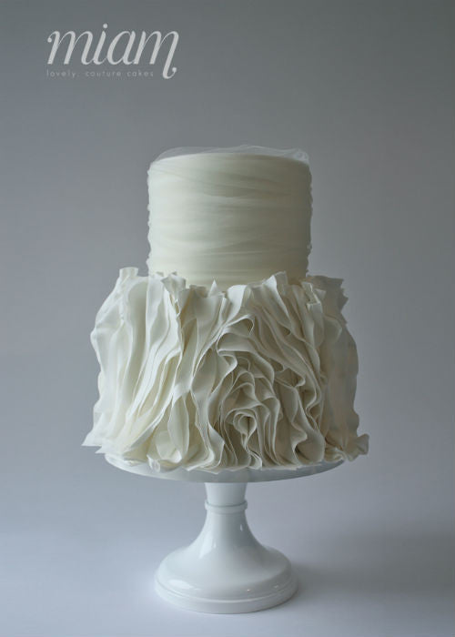 Voluptuous Ruffle Cake on a White 12 inch Cake Stand