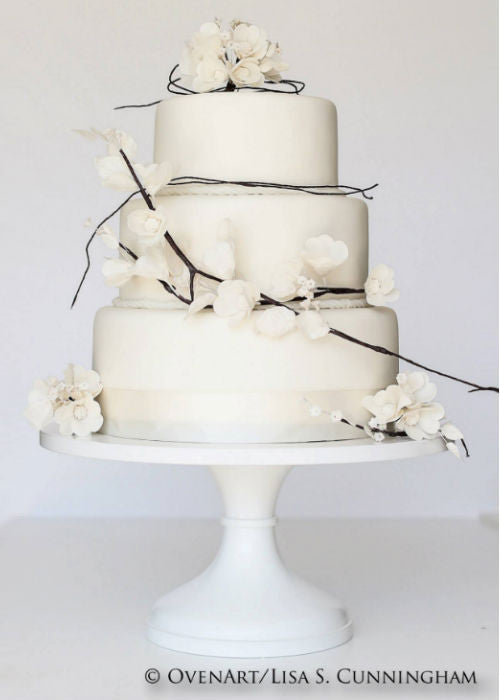 Organic Style Wedding Cake on a White 12 inch Cake Stand