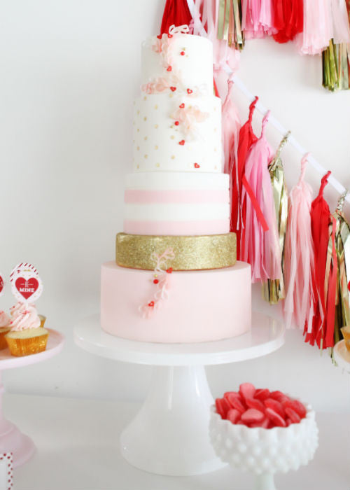 Pastel Pink Wedding Cake on a White 14 inch Cake Stand