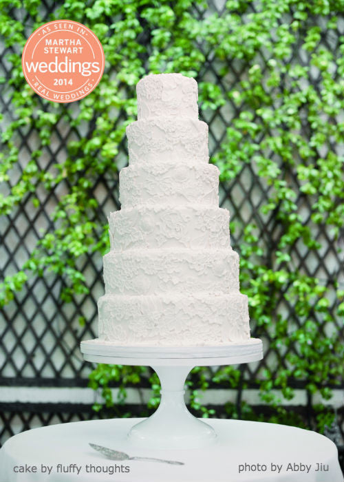 6 Tier All White Cake on a 16 inch White Cake Stand