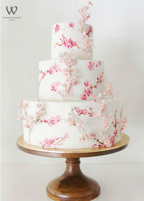 Floral Cake on 16 inch Wood Cake Stand