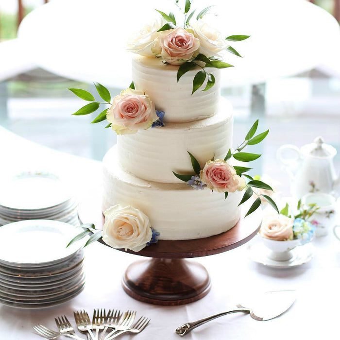 Floral Cake on 14 inch Natural Wood Cake Stand