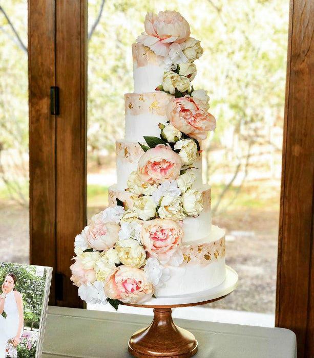 Cascading Floral Cake on 14 inch Wood Cake Stand
