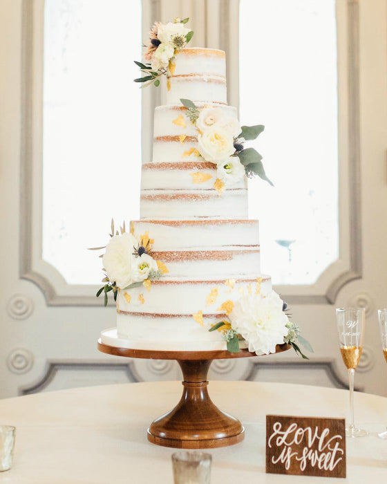 Barely Naked Cake on 16 inch Wooden Cake Stand