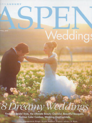 Aspen Wedding Mag, Summer 2013, Cover, cake stand
