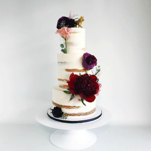 Barley Naked Cake on White 14 inch Cake Stand