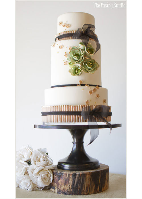 Rustic Wedding Cake on a 16 inch Black Cake Stand