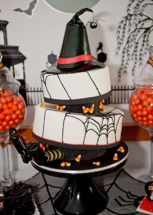 Halloween Witch Cake on a 14 inch Black Cake Stand