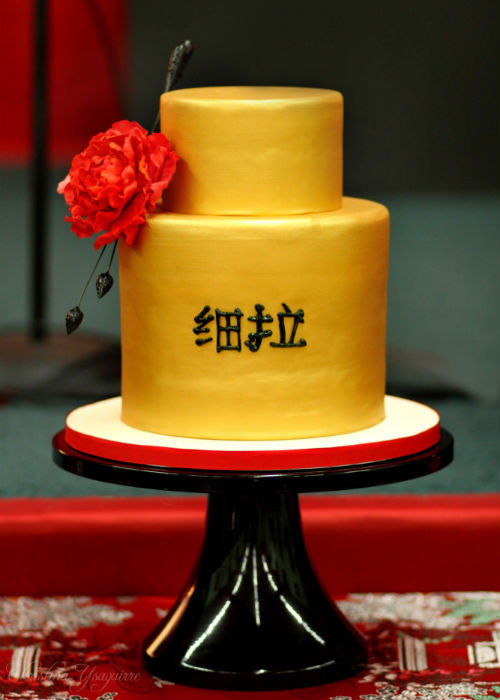 Asian Cake on a 14 inch Black Cake Stand