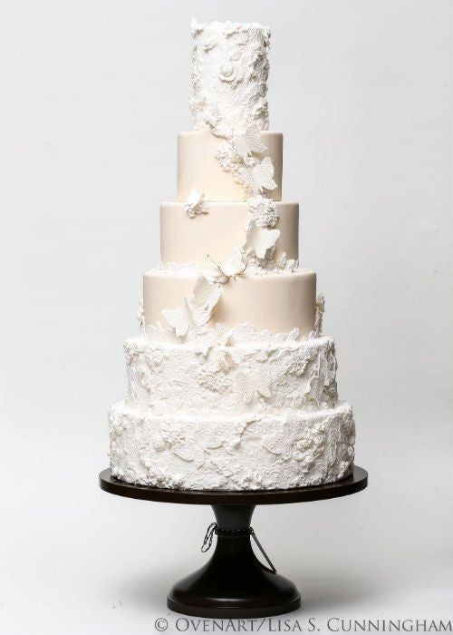 Massive Wedding cake on a Black 18 inch Cake Stand