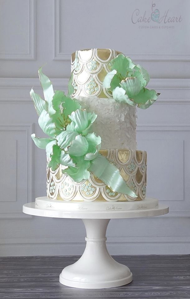 Elegant Ribbon Cake on White 12 inch Cake Stand