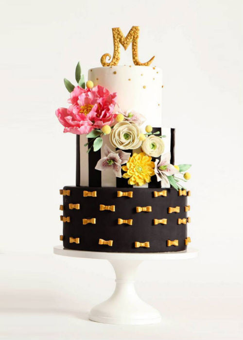 Playful Wedding Cake on a 14 inch White Cake Stand