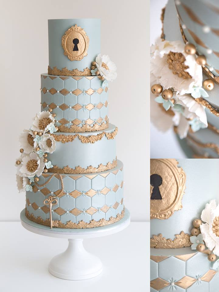 Wonderfully Detailed Cake on a White 14 inch Cake Stand