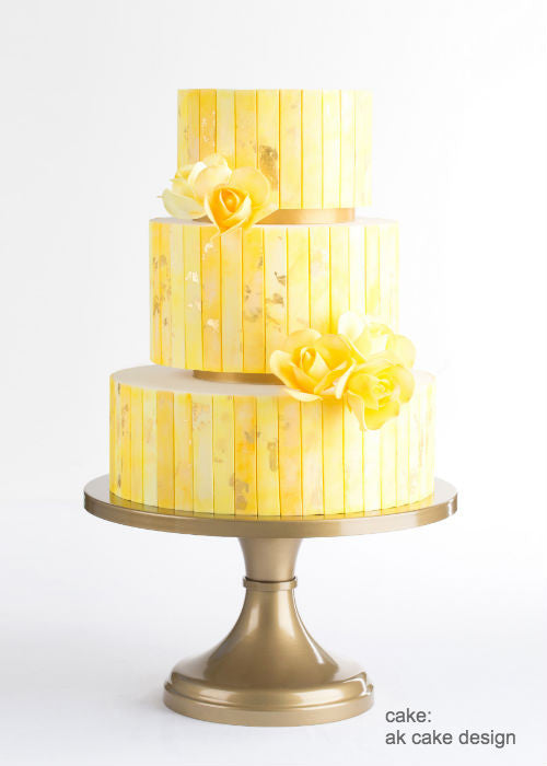 Bright Spring Time Cake on a 14 inch Gold Cake Stand
