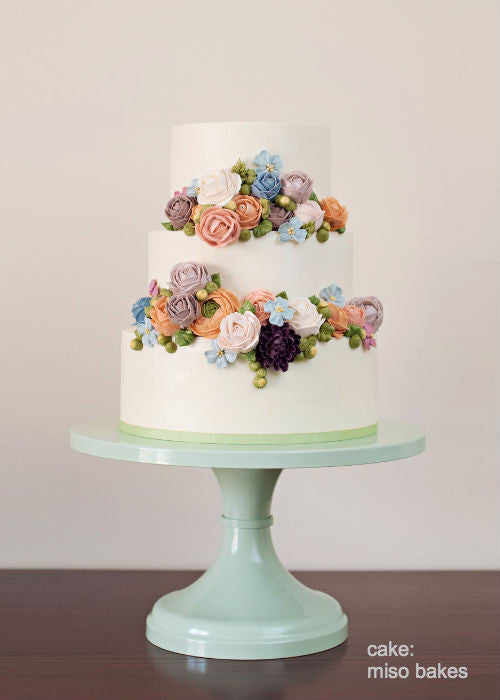 Vintage Floral Cake on a Mint 12 inch Cake Stand