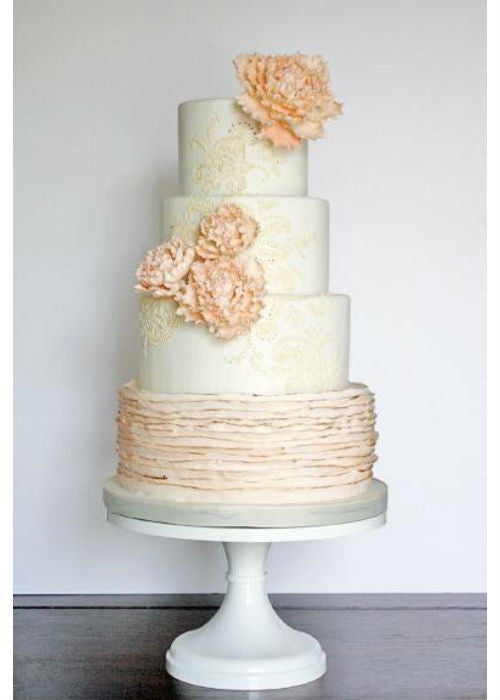Ruffle and Sugar Flower Cake on a White 14 inch Cake Stand