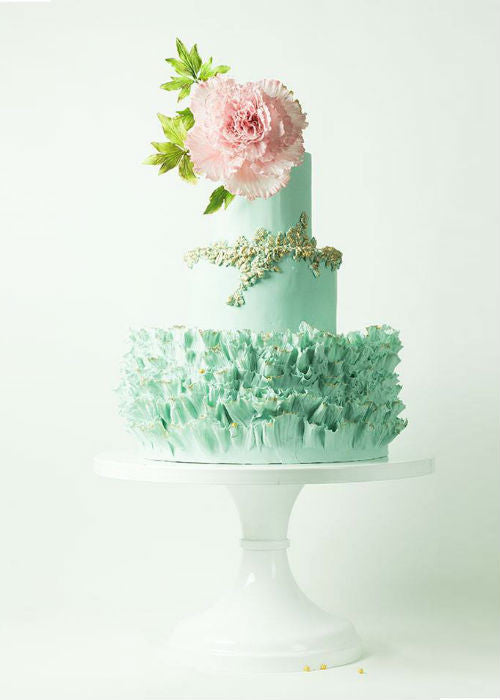 Delightful Mint Cake on a White 14 inch Cake Stand