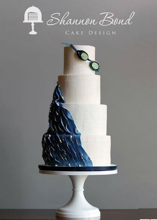 Swirl Swim Cake on 14 inch White Cake Stand