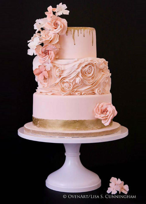 Gold Accented Cake on a 16 inch Pink Cake Stand