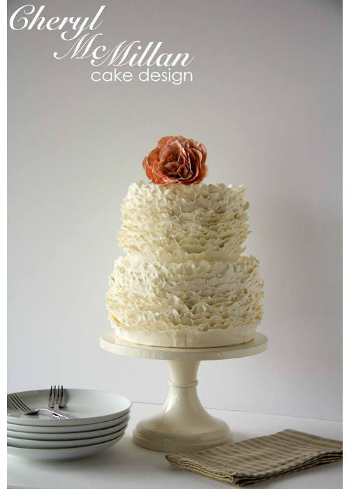 Ruffled Masterpiece Cake on 12inch White Cake Stand