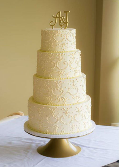 Classic Beauty Wedding Cake on 14 inch Gold Cake Stand