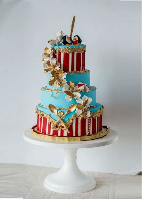 Carnival Cake on 12 inch White Cake Stand
