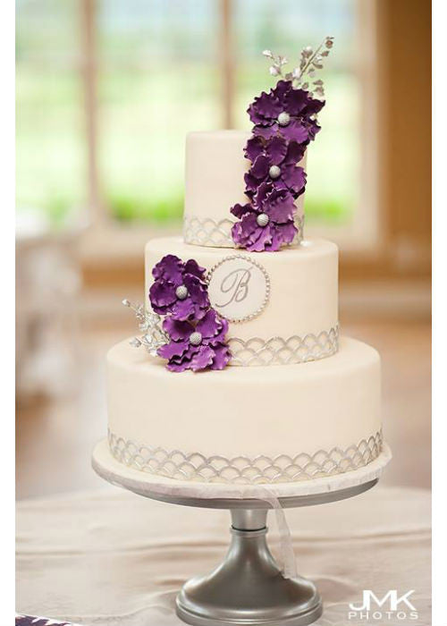 Beautiful Purple Flower Cake on a 14 inch Silver Cake Stand