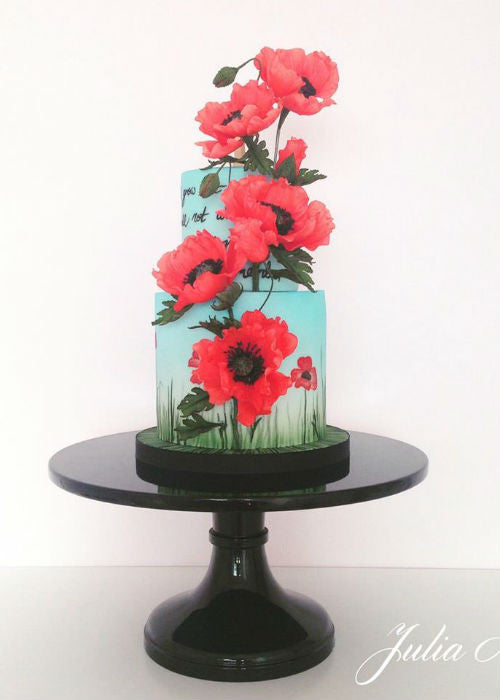 3D Floral Cake on 12 inch Black Cake Stand