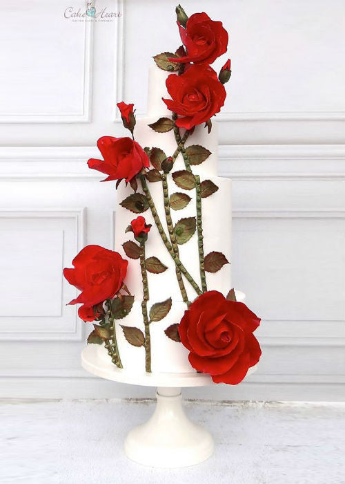 Rose Cake on 14inch White Cake Stand