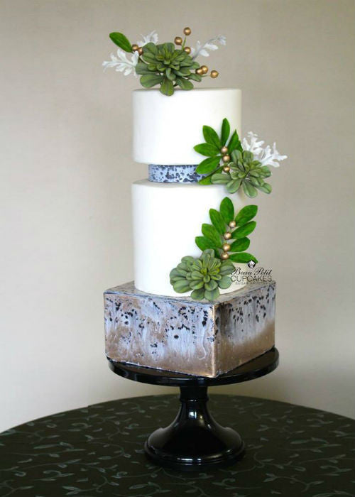 Metal Patina Cake on 14 inch Black Cake Stand
