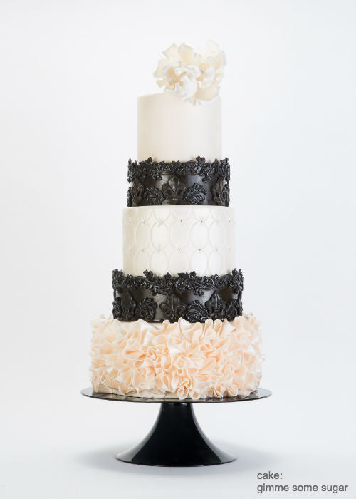 Extravagant Ruffles Cake on a 10inch Black Cake Stand
