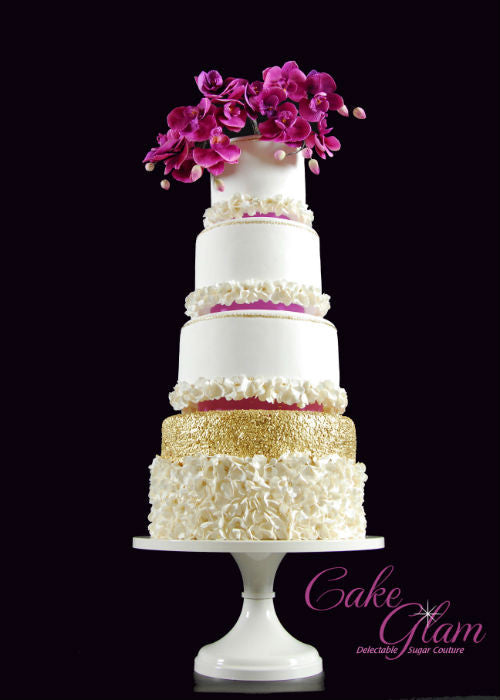 Beautiful Magenta Orchids Cake on a 14 inch White Cake Stand