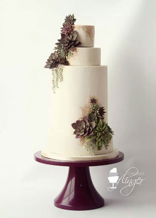 Draped in Succulents Cake on a 14 inch Purple Cake Stand