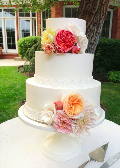 Garden Party Cake on a White 12 inch Cake Stand