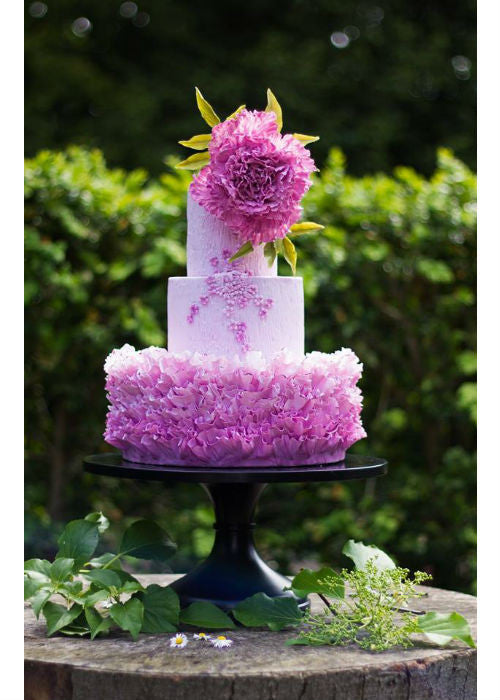 Pink Ruffle Cake on 14 inch Black Cake Stand