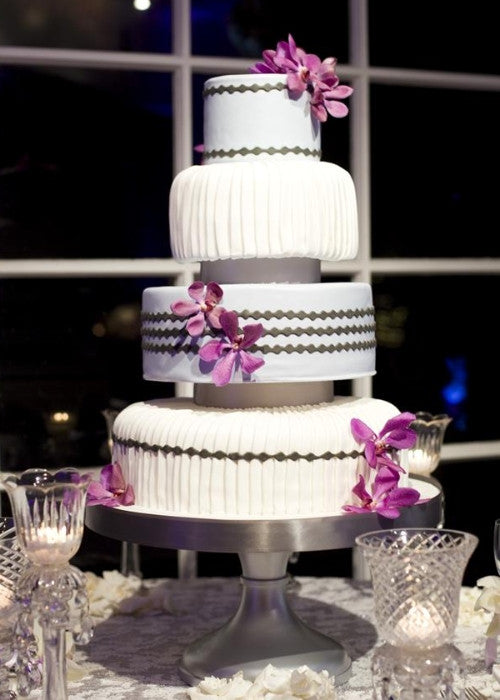 4 Tiered Cake on a Silver 18 inch Cake Stand