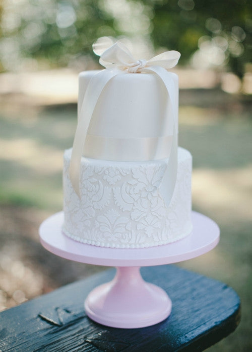Lace Cake on a 14 inch Pink Cake Stand