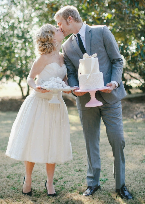 Beautiful Couple with a 12 inch Pink Cake stand