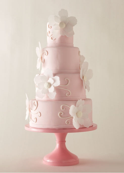 Charming Pink Cake on a 14 inch Pink Cake Stand