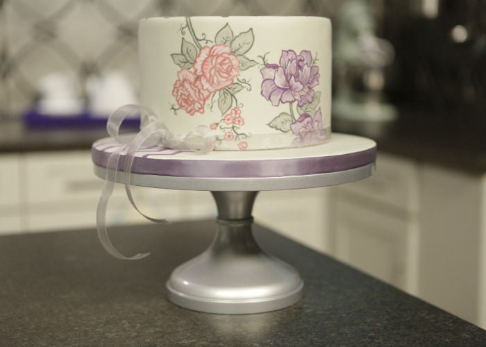 Darling Cake on a 12 inch Silver Cake Stand