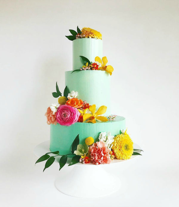 Bright Colored Cake on White 14 inch Cake Stand