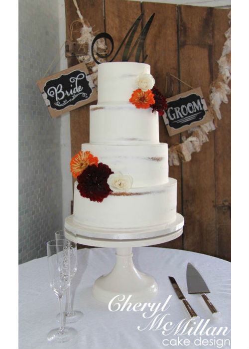 Near Naked Cake on White 14inch Cake Stand