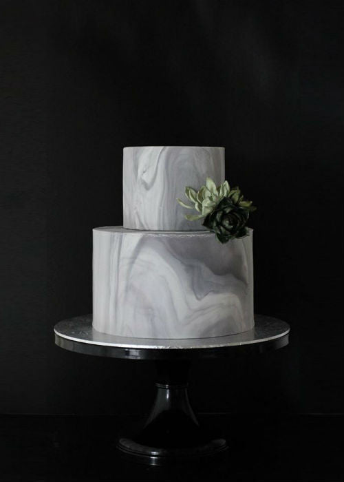 Elegant Marble Cake on Black 12 inch Cake Stand