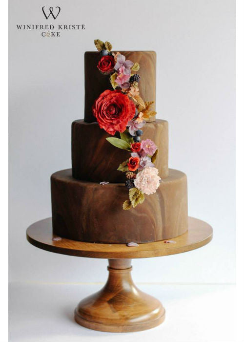 Chocolate Marble Cake on a Natural Wood 16 inch Cake Stand