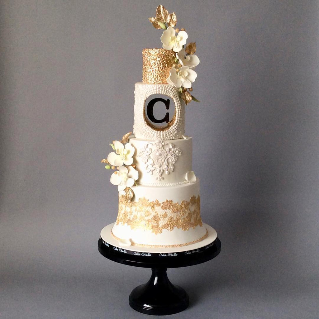 Creme and Gold Cake on White 18 inch Cake Stand