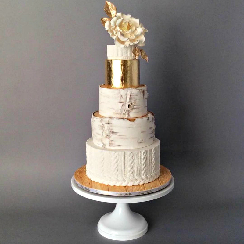 Rustic Cake on 14 inch White Cake Stand